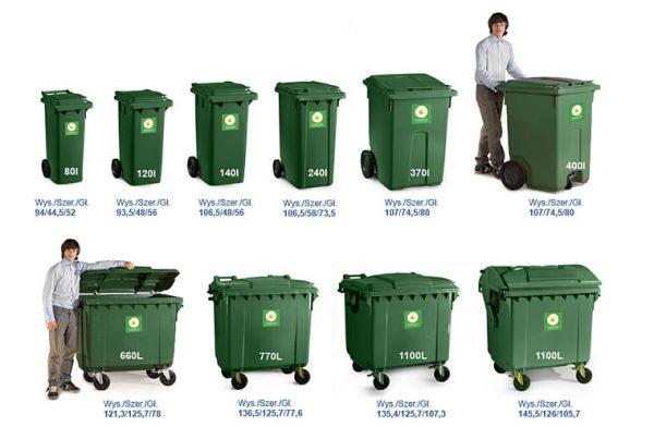 rozmiary pojemników na śmieci